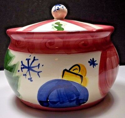Vicki Carroll Tis The Season Covered Dish Bowl Retired Christmas Pottery Ceramic