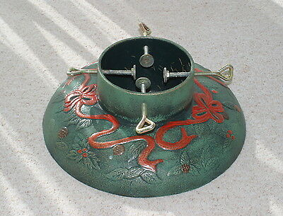 """Collectable Large Cast Iron Xmas Tree Stand base fits up to 6""""diameter stump"""