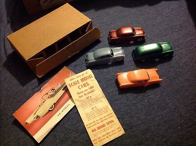 Vintage 1954 Post Cereal F&F Plastic Car Cars Set Mint in Mailing Box RARE Ford