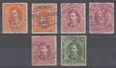 """COSTA RICA 1889 SOTO Sc 27-29 GROUPOF 6 STAMPS WITH VIOLET """"TELEGRAPH"""" CANCELS"""