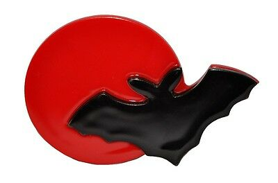 Exquisite Black And Red Resin Figural Halloween Bat And Moon Pin Brooch