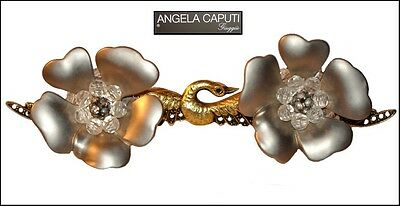 Vintage Angela Caputi Italy Silver Resin Glass Rhinestones Flower Earrings