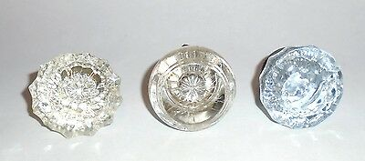 Lot of 3 Different Antique Clear Glass Door Knobs