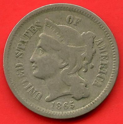 1865 United States 3 Cent Nickel Coin
