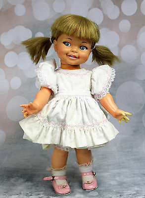 """Vintage 1967 Ideal GIGGLES 18"""" Doll Pretty Flirty Eyes Some Damage Defects"""