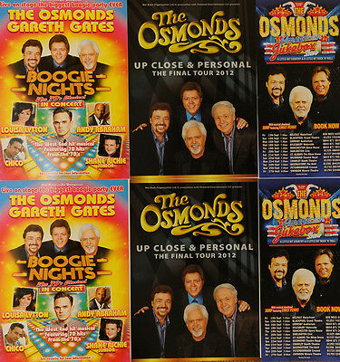 6 X The Osmonds Tour Flyers - Boogie Nights, American Jukebox Close & Personal