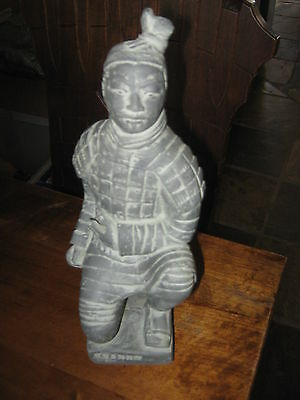 Chinese Warrior Statue Replica Soldier 27 CM Grey Finish