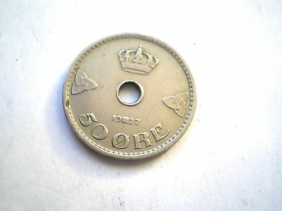 Early 50 Ore Coin From Norway Dated 1927-Nice