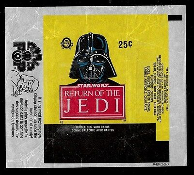1983 O Pee Chee Opc One Wrapper Star Wars Return Of The Jedi Darth Vader