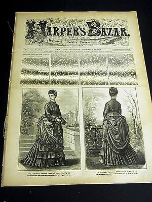 Harper's Bazar November 21 1874 w Rare PATTERN Supplement - Ladies Girls Dresses
