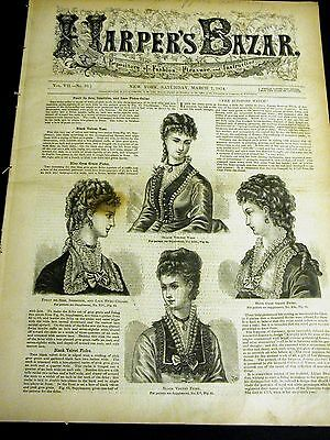 Harper's Bazar March 7 1874 w PATTERN Supplement - Ladies Girls Jackets Collars