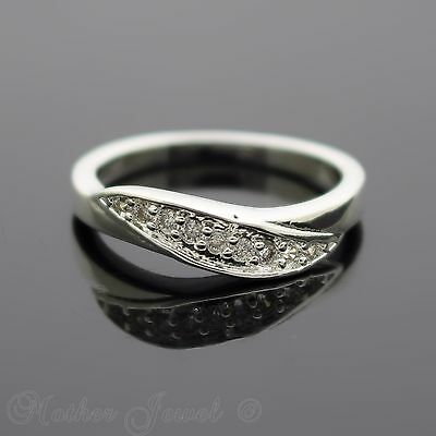 Simulated Diamond Sterling Silver Plated Wedding Anniversary Band Ring Size 7