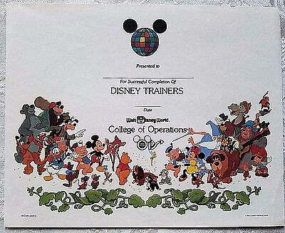DISNEY 1980's WDW DISNEY TRAINERS COURSE COMPLETION CAST CERTIFICATE & HOLDER