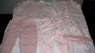 Baby Girls 6 - 9 Months M&S Sleepsuit, Hat, Top & 2 Pairs of Bottoms.