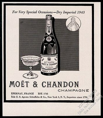 1951 Moet & Chandon Dry Imperial champagne 1943 bottle art vintage print ad