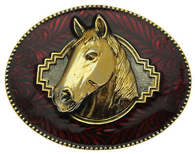 Gold Plated Horse Head Belt Buckle. (RED)
