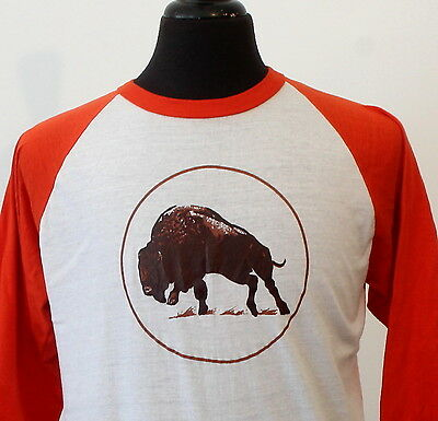 vintage 80s BUFFALO soft thin RAGLAN T SHIRT large BIKER rocker