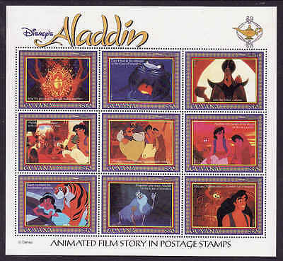 D1-Disney-Guyana-Sc#2759-unused NH sheet-various scenes from Aladdin-1993-