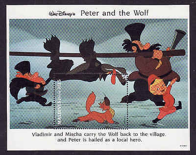D1-Disney-Maldives-Sc#1928-unused NH sheet-Peter & the Wolf-1993-