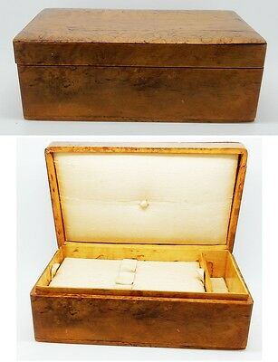 "Antique English 5.75"" Wooden Silk Lined Sewing Box with Tray Made in England"