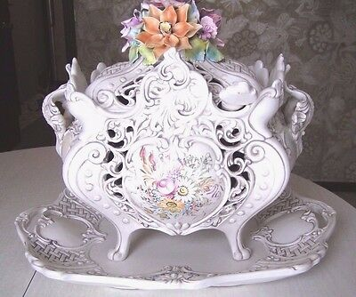 "XL 16""x 20"" Vintage V Bassano Floral Porcelain Soup Tureen Italy NEW Never Used"