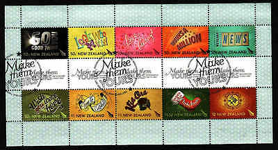 D1-New Zealand-Sc#2161-used block-Greeting stamps-2007-