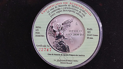2000 MEXICO SILVER 1 Oz  LIBERTAD WINGED VICTORY  PROOF W COA