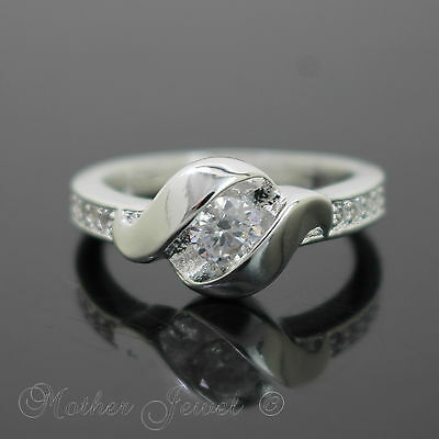 Alluring Simulated Diamond Engagement Wedding Sterling Silver Plated Ring Sz 8