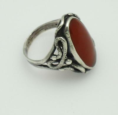 Antique Victorian STERLING SILVER Carnelian Double Snake Ring Estate Find