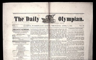 Rare 1876 THE DAILY OLYMPIAN Olympia WA WASHINGTON TERRITORY NEWSPAPER Tumwater