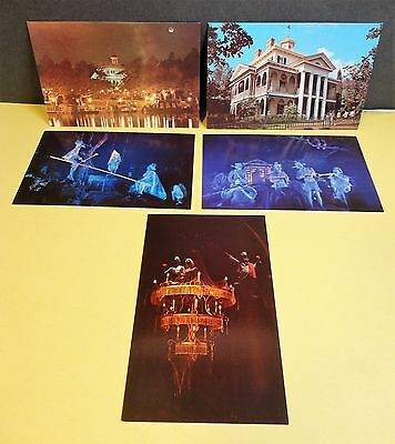 5 Vintage Haunted Mansion DISNEYLAND Postcards