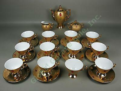 Vtg 28pc Rieber Mitterteich Bavaria Germany Gold Red Jewel Porcelain Coffee Set