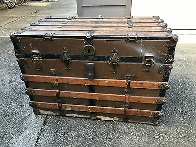 ANTIQUE STEAMER TRUNK VINTAGE VICTORIAN FLAT TOP WOODEN TRAVEL CHEST Ornate Rare