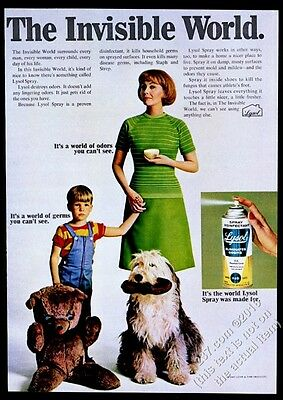 1967 Old English Sheepdog mother son photo Lysol vintage print ad