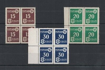 1941 Estland No. 1/3 Rare Muh Block Four Set