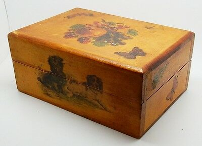 Antique / Vintage English Wooden Box with Fruit Dogs & Butterflies England