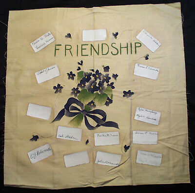 Vintage Friendship Signed Stenciled Painted Violets Pillow Cover