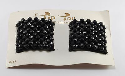 Vintage Pair Tip Toe Shoe Clips #458 Black Bead Shoe Accessories New on Card