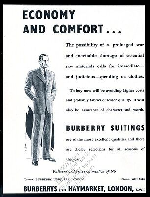 1944 Burberrys men's suit WW2 'shortages coming so buy now' vintage UK print ad