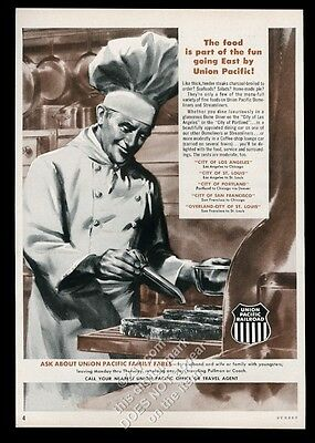 1959 Union Pacific Railroad train chef cooking art vintage print ad
