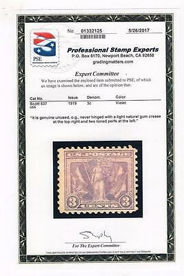 SCOTT # 537 PSE 1919  MINT OGNH 3c VICTORY STAMP SEE CERTIFICATE