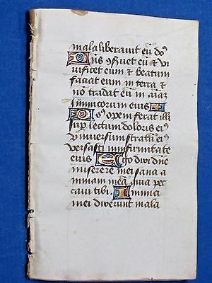 Medieval BoH Manuscript quire of 8 leaves,Vellum,Deco Gold Initials&,ca.1465