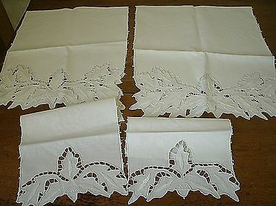 4 Pc. Vintage Linen Table Sofa Runner Embroidered Cutwork Oak Leaves Acorn (J8)