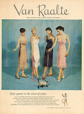 1953 vintage lingerie AD VAN RAALTE SLIP Collection 4 models Siamese Cat 102515