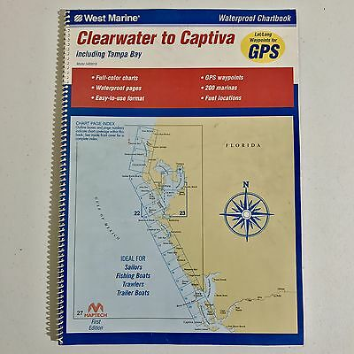West Marine Boating Waterproof Chart Book Clearwater To Captiva Tampa Bay FL
