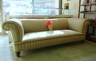 Antique Edwardian Chesterfield Settee Sofa with Watered Silk Upholstery