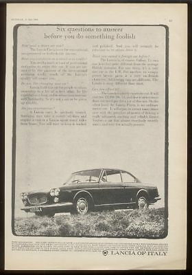 1964 Lancia Flavia coupe car photo UK ad