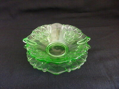 2 Piece Green Uranium Glass  Mayonnaise Set-Czechoslovakia