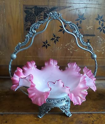 Antique Victorian Silver Plate Brides Basket With Pink Ruffle Rim Bowl
