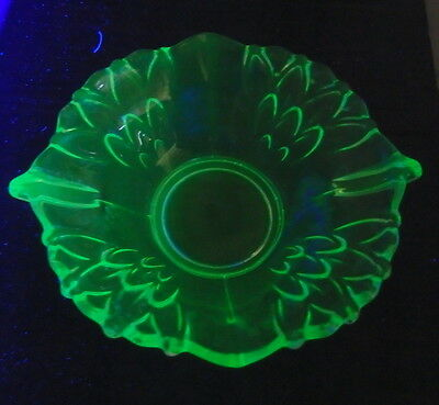 Green Uranium Glass  Jam Dish - Czechoslovakia